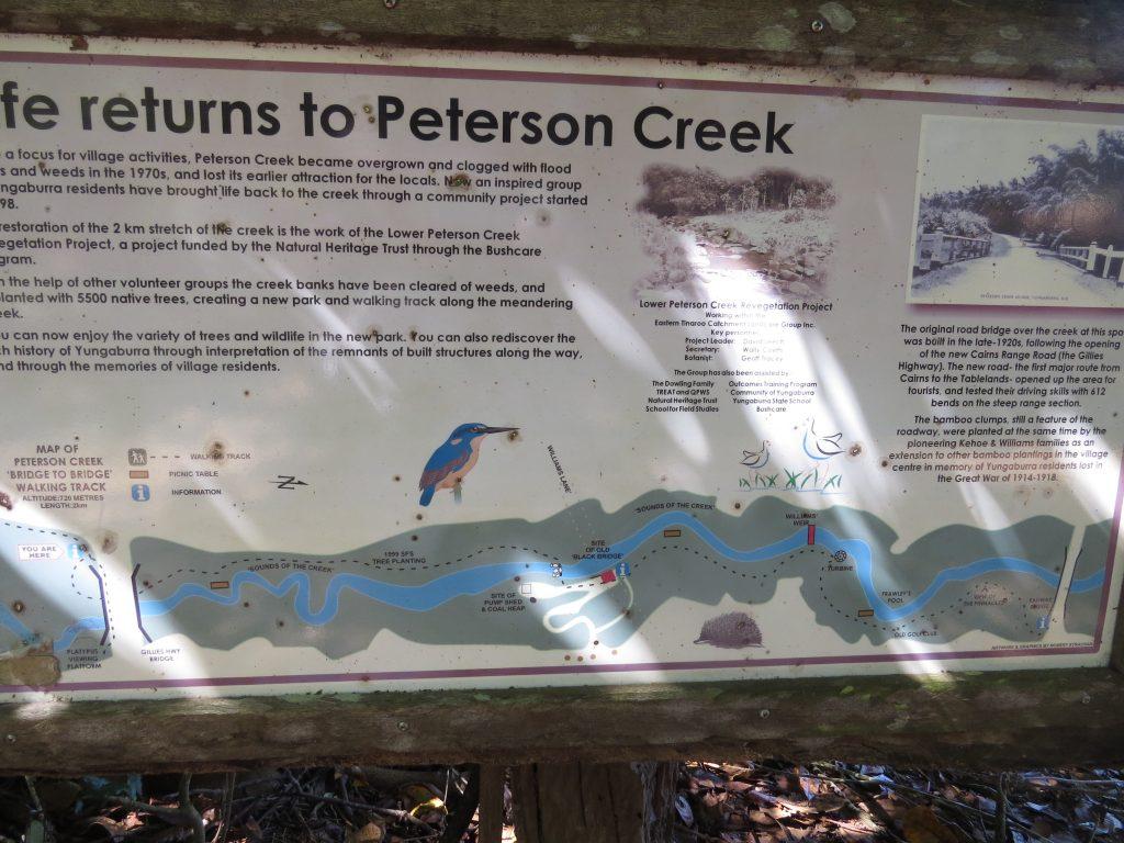 ピーターソンクリーク遊歩道の案内板