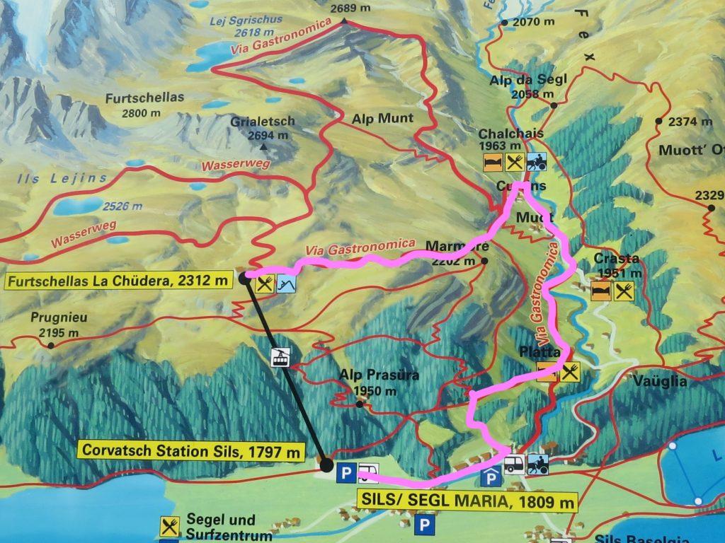 フルチェラス~フェックス谷ハイキングコー地図